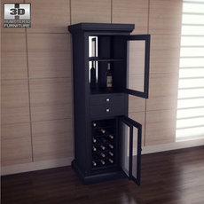 Meridian Wine Curio in Espresso - Classic Flame 3D Model