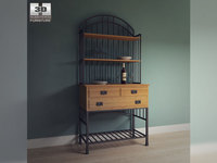 Oak Hill Buffet Server with Baker's Rack in Oak - Home Styles 3D Model