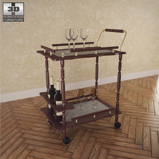 Serving Cart in Cherry - Coaster 3D Model