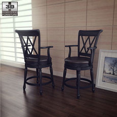 Traditional Swivel Bar Stool in Black - Home Styles 3D Model