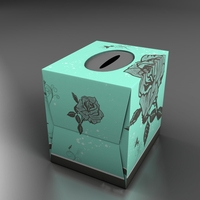 Teal Tissue box with roses 3D Model