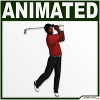 Black Golf Player CG 3D Model