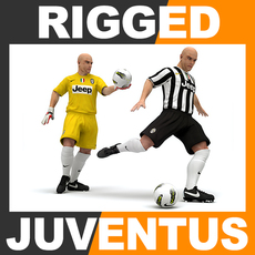 Rigged Football Player and Goalkeeper - Juventus FC 3D Model