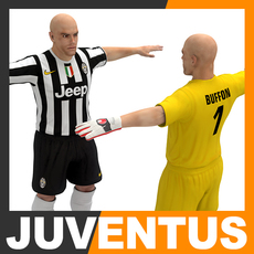 Football Player and Goalkeeper - Juventus FC 3D Model
