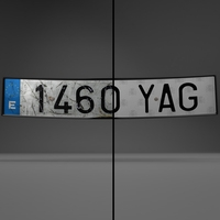 Euro Style License plate 3D Model