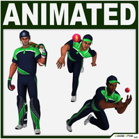 Hi-Poly Cricket Players Package 3D Model