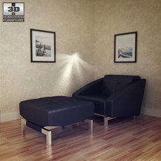 Chair Convertible with Ottoman in Black 3D Model