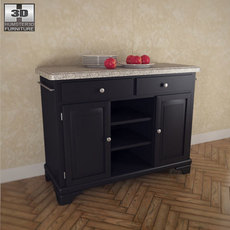 Kitchen Cart with Gray Granite Top 3D Model