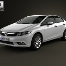 Honda Civic sedan with HQ interior 2012 3D Model