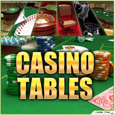 Casino Tables (Roulette Poker Blackjack) 3D Model