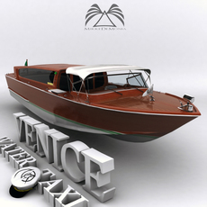 Venice Water Taxi Boat 3D Model