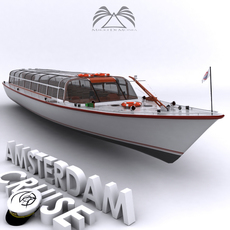 Amsterdam cruise boat 01 3D Model