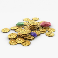 Gold coins and gems 3D Model
