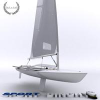 Sport Dinghy Sailboat 3D Model