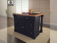 Monarch Kitchen Island with Granite Top in Black 3D Model