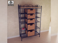 Manilla 5 Drawer Kitchen Storage Rack 3D Model