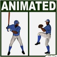 Black Baseball Players (batter and pitcher) 3D Model