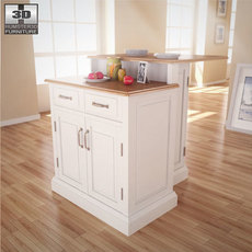 Woodbridge Two Tier Kitchen Island in White 3D Model