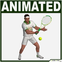 White Tennis Player 3D Model