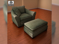 Ashley Durapella Basketweave - Olive Oversized Chair 3D Model