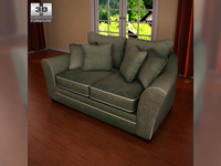 Ashley Durapella Basketweave - Olive Loveseat 3D Model