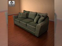 Ashley Durapella Basketweave - Olive Sofa 3D Model