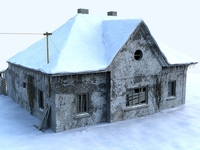 Ruined house - winter version 3D Model
