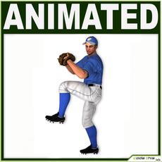 White Baseball Player Hi-poly (PITCHER) 3D Model