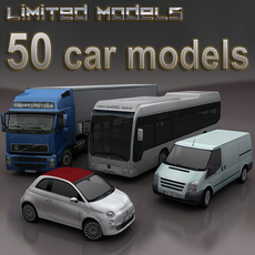 50 cars Collection 3D Model