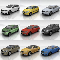10 Skoda cars collection 3D Model