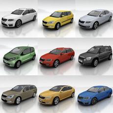 10 Skoda cars collection 3D Model