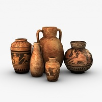 Low poly greek vases 3D Model