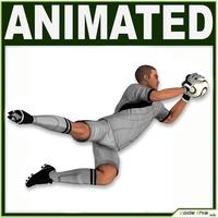 White Soccer Player Goalkeeper (Hi-Poly) 3D Model