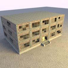 Low Poly broken down Office Building 3D Model