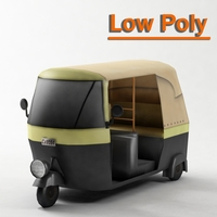 TukTuk V2 Low Poly 3D Model