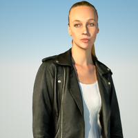 Leather Jeacket Girl 3D Model