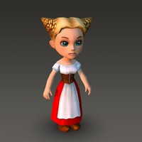 Cartoonish Civilian Female 3D Model
