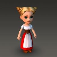 Cartoonish Civilian Female 3D Model