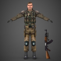 Low Poly Soldier with Ak47 3D Model