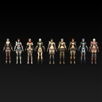 Nine Warrior Girls 3D Model
