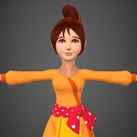 Cartoon Girl Babli 3D Model