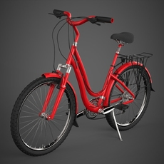 Realistic Red Bicycle 3D Model