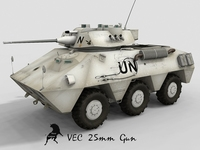 VEC 25mm BushMaster gun with UN spanish decals 3D Model
