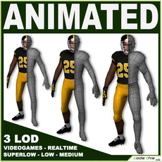 Football Player With 3 LOD For Videogame 3D Model