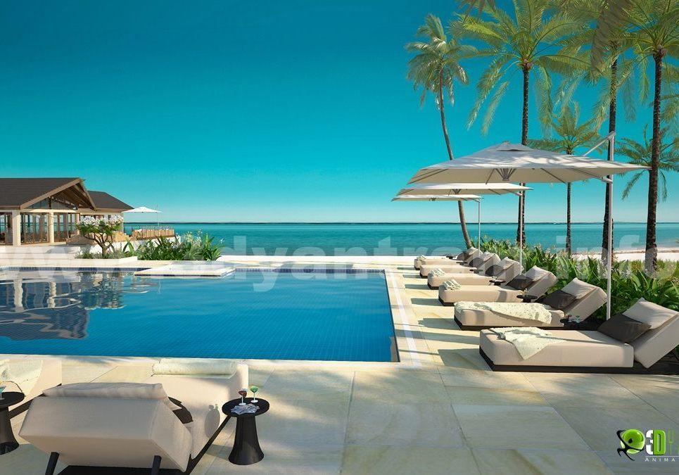 3d exterior rendering studio hotel resort show