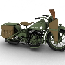 Harley-Davidson WLA 1939 WW2 3D Model