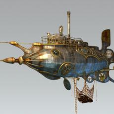 Steampunk/Dieselpunk Scavenger Submarine 3D Model