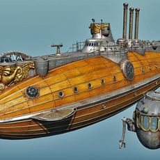 Hippocamp Steampunk Submarine 3D Model