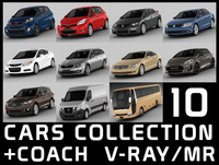 10 cars collection plus coach 3D Model