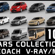 10 cars collection plus coach 3D Model